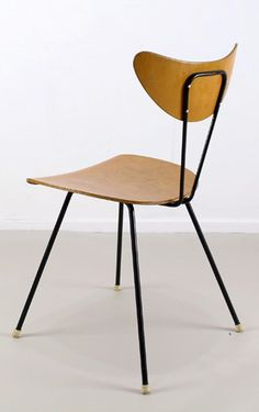 W H. Gispen; Molded Plywood and Enameled Metal Side Chair for Kembo, 1950s.