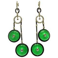 Exceptional Elegant Long Jade Pi Onyx Diamond Gold Drop Earrings