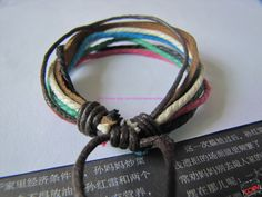 Real Leather and Multicolour Hemp Rope Cuff by sevenvsxiao on Etsy, $5.00