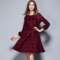European autumn women's slim red grid dresses bowknot with waist O-Neck temperament office OL plus size Plaid clothing 1616