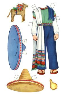 Paper doll printable, traditional Mexican clothing