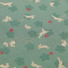 """Baumwolle """"Rabbits and Sakura"""" (mineral) von SEVENBERRY/Japan"""