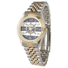 Golden Wheel Navy Stripes Wristwatches