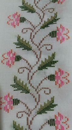 Designs in Machine Embroidery - Stitch Swag - Cozy Dog Suites - Embroidery Design Guide Cross Stitch Boarders, Cute Cross Stitch, Cross Stitch Rose, Cross Stitch Flowers, Cross Stitch Designs, Cross Stitching, Cross Stitch Patterns, Hand Embroidery Stitches, Beaded Embroidery