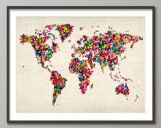 Butterflies Map of the World Map, Art Print (453)