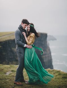 photography: Cottonwood Studios // location: Cliffs of Moher, County Claire, Ireland | green pleated skirt