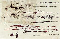 Imitação da Escrita (Pintura),  30x43 cm por Maria Antónia Santos técnica mista sobre papel