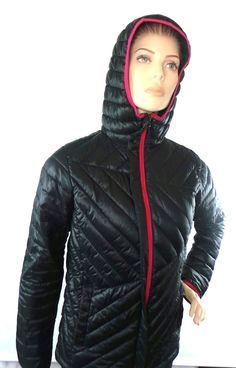 Columbia Women's Black Hooded Omni Shield Full Zip Puffer Jacket Coat Sz 18 20 | eBay