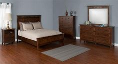 Santa Fe Dark Chocolate Wood Glass 5pc Bedroom Set W/Queen Bed
