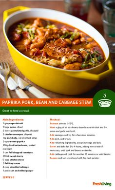 Stay warm and trim this Substitute the pork belly in this hearty Spanish bean & cabbage stew with low-fat pork fillets instead. Braai Recipes, Pork Recipes, Slow Cooker Recipes, Cooking Recipes, Oven Recipes, Recipies, Healthy Baking Substitutes, Cabbage Stew, Pork Fillet