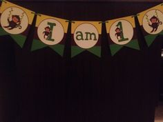 I am 1 high chair banner-Monkey themed
