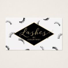 Lots of Lashes Pattern Lash Salon White/Black/Gold Business Card - Check out this business card. You can't find this design at your local printer. Beauty Business Cards, Gold Business Card, Salon Business Cards, Makeup Artist Business Cards, Business Card Size, Business Card Design, Lash Room, Lashes Logo, Design Studio