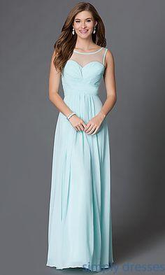 Floor Length Sleeveless Dress with Illusion Sweetheart Neckline