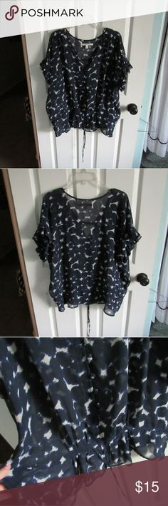 Fluttery Ruffled Blouse This is such a cute short sleeve blouse!  It cinches at the waist. This is so light and romantic!  In excellent used condition!  Make an offer? Bundle to save! LC Lauren Conrad Tops Blouses