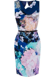 Oasis: This cowl neck shift dress has an all over ink watercolour pattern and a belt to cinch in the waist. Sleeveless in style, this piece finishes mid thigh and has a cut out detail to the back.
