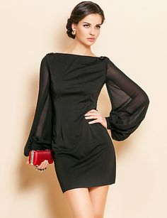TS Simplicity Beads Lantern Sleeve Jersey Sheath Dress - USD $ 33.99