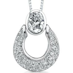 $34.99 Dazzling Desire: Sterling Silver Rhodium Finish Designer Inspired Slider Style Basket Pendant Necklace with Cubic Zirconia Peora, #necklace #gifts