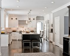 Kitchen, Charming Pictures Of Kitchens With Tile Floors At White Kitchen Cabinet Hanging Bulb Lamps Marble Kitchen Island With Black Chairs Lighting Fixtures: Beautiful Kitchen Plans from This Pictures of Kitchens with Tile Floors