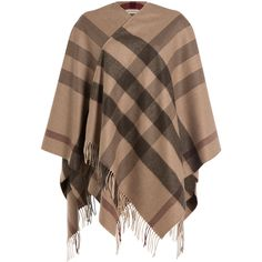 Burberry Shoes & Accessories Printed Cashmere-Merino Wool Cape (€895) ❤ liked on Polyvore featuring outerwear, cardigans, cape, jackets, multicolor, burberry, burberry cape, brown cape, cape coat and cashmere cape