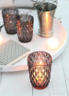 Glas Teelichter- 2er Set Harlekinmuster Anthrazit - HOUSE of IDEAS Orientalische Dekorationsartikel und Bunzlauer Keramik