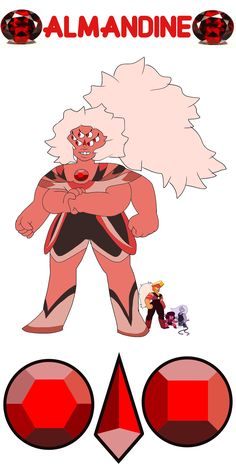 Ruby + Amethyst + Jasper = Almandine Personality below! Almandine is a hyper-sensitive, super strong fusion. She'll briefly attempt conversation to resolve problems, but she'll quickly resort to violence. Her powers include calokinesis, fire-breathing, and super speed. Thanks for the request, reggie2524!