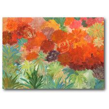 Coral Daisy Garden II Painting Print on Wrapped Canvas