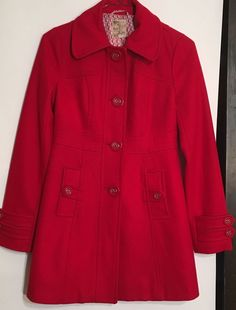 Tulle ANTHROPOLOGIE Red Wool Winter Long Pea Coat Jacket Fitted Women's Small  | eBay