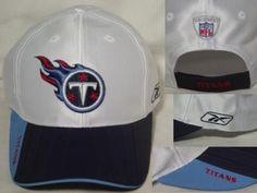 New NFL TENNESSEE TITANS Logo White Blue Hat Cap Rubberized embosed bill REEBOK