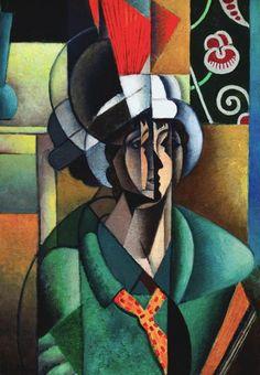 La Femme à l'Éventail (Woman with Fan), 1913 by Jean Metzinger. Cubism. portrait