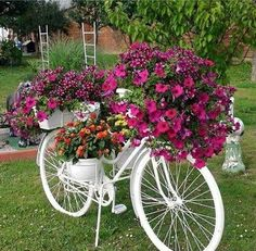 White bicycle use as flower holder