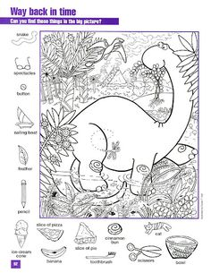Dinosaurs for Kids - Everything for kids from neat dinosaur facts to coloring pages and pictures. Find some games, or try our printables. Hidden Object Puzzles, Hidden Picture Puzzles, Hidden Objects, Colouring Pages, Coloring Books, Hidden Pictures Printables, Activity Sheets, Preschool Activities, Mandala
