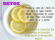 ¿Te gusta tomar una infusión caliente antes de ir a la cama?  Esta mezcla de agua de limón con aceite de oliva es ideal para depurar tu organismo, mientras tu cuerpo descansa... Dulces sueños! #detox #infusion Body Detox, Detox Tea, Healthy Eating Tips, Healthy Drinks, Home Health, Health Fitness, Bebidas Detox, Juice Smoothie, Smoothies