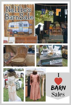 If you want to find really cool and unique treasures you must head on over to Nellie's barn sale. Sale 2015, Flea Markets, Antique Stores, White Lace, Furniture Ideas, Diy Ideas, Barn, Cottage, Decorating