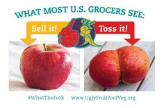 """Help end food waste....PLEASE click VISIT to learn all about the """"Ugly Fruit & Vegetable"""" campaign."""