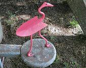 Flamingo Metal Sculpture Pink Bird Metal Garden Art Yard Art Found Objects