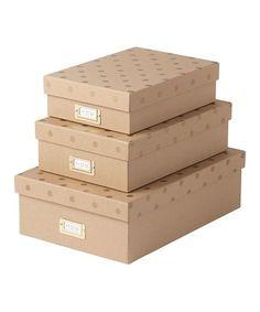 Look at this #zulilyfind! Kraft Gold Dot Nesting Boxes Set #zulilyfinds