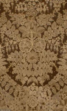 "Point De Gaz Veil, C. 1860; Handmade toile and reseau in elaborate floral patterns, perimeter worked in leaf patterns, Width 80"", Drop 50"""