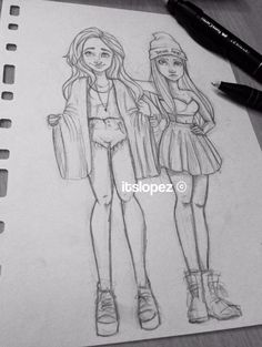 drawings of sketches Girl Drawing Sketches, Bff Drawings, Tumblr Drawings, Pencil Art Drawings, Amazing Drawings, Beautiful Drawings, Cartoon Drawings, Cartoon Art, Drawing Ideas