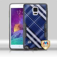 MYBAT Galaxy Note 4 Case Premium TUFF Merge - Blue Diagonal Plaid