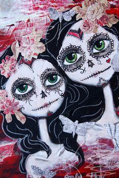 Day Of The Dead - Big Eye Art - Mixed Media - Día de los Muertos - Skeleton - 8x10