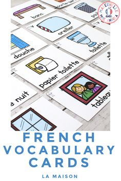 FRENCH House Word Vocabulary Cards (cartes de vocabulaire - la maison) - It's easy to teach and review French House and Home vocabulary using this set of word wall cards! With cards in both colour and black