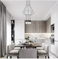 Most beautiful elegant modern dining room design ideas 2 Modern Kitchen Interiors, Luxury Kitchen Design, Kitchen Room Design, Home Room Design, Kitchen Cabinet Design, Dining Room Design, Home Decor Kitchen, Interior Design Kitchen, Home Kitchens