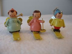 Vintage Miniature Wooden Skiing Angels Decorations/Ornaments - Italy (3)
