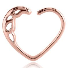 Rose Gold PVD Surgical Steel Daith Heart For Ear by Damned2hell