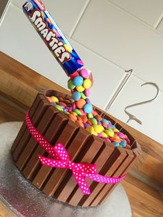 Anti-gravity illusion Kit Kat Smarties Chocolate Cake   For my Daughters 12th Birthday
