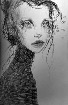 Black and white drawing, illustration portrait art ~ Lux Xzymhr