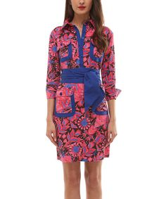 Look at this Almatrichi Pink & Blue Modern Shirt Dress on #zulily today!