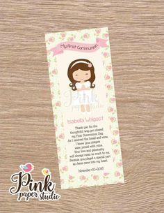 First Communion Favor Cards Bookmark por PinkPaperStudioMiami
