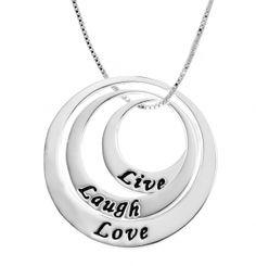 Image of Live Laugh Love Inspirational Sterling Silver Neckalce