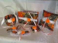 Camo Wedding Set, Wedding Flower Girl Basket,Wedding Pillow, Wedding Guest Book, Pen and Wedding Garter, True Timber Orange Camo Wedding Set by TheMomentWeddingBout on Etsy